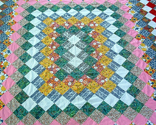 """Grandmother's Dream"" Pattern Quilt Top - Hand Pieced/Hand Sewn - 86"" by 76"" - Vintage-1940s"