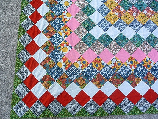 """""""Grandmother's Dream"""" Pattern Quilt Top - Hand Pieced/Hand Sewn - 86"""" by 76"""" - Vintage-1940s"""