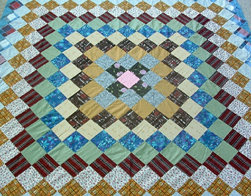 """Grandmother's Dream"" Pattern Quilt Top - Hand Pieced/Hand Sewn - 86"" by 76"" - Vintage-1940s - #2"