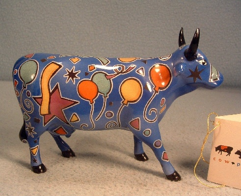 """Party Cow"" - Westland Cow Parade Ceramic Figurine - ""With a moo moo here And a moo moo there Here a moo, there a moo Everywhere a moo moo"""