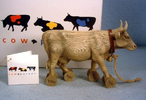 """Pull Toy"" - Westland Cow Parade Resin Figurine - ""With a moo moo here, And a moo moo there, Here a moo, there a moo, Everywhere a moo moo"""
