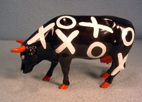 """Hugs & Smooches"" - Westland Cow Parade Ceramic Figurine - ""With a moo moo here, And a moo moo there, Here a moo, there a moo, Everywhere a moo moo"""