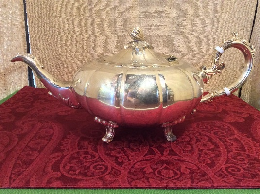 Elegant Melon Shaped Tea Pot - F.B. Rogers Silver Co - 1883 Crown Mark