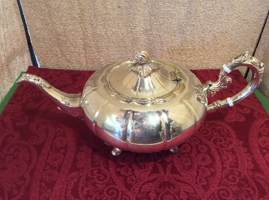 Elegant Melon Shaped Tea Pot - F.B. Rogers Silver Co - 1883 Crown Mark