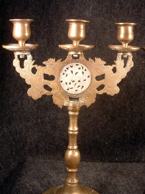 PAIR Chinese Etched/Engraved Brass Candelabra with Carved Jade Medallion Inserts