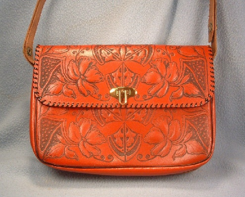 Hand Tooled Red Leather Purse - Vintage Southwestern Inspired - Genuine Split Cowhide