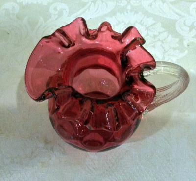 Fenton for L. G. Wright Cranberry Glass Coin Dot - Vintage 5.5 Inch Pitcher