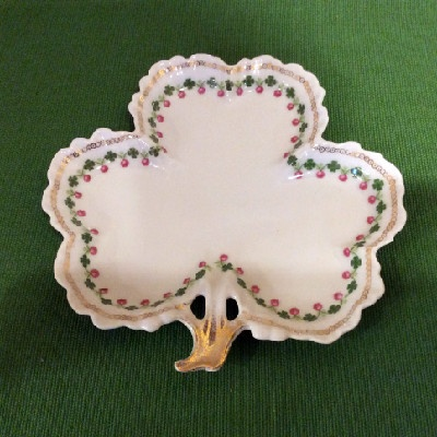 Clover Leaf Shaped - Shamrock Decorated Plate - Royal Rudolstadt China - Irish Luck