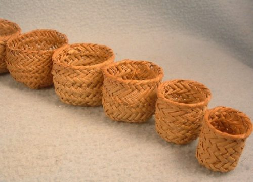 Miniature Hand Woven Pine Needle Baskets - Graduated Set of 10