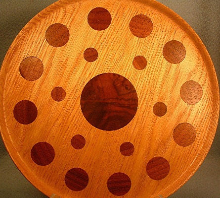 Oak Plate - Charger - Serving Tray w/ Walnut Circles Inlay - Woodcraft Artisan - Handcrafted Folk Art by M H Ripple