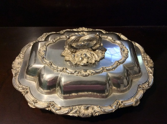 George Waterhouse & Co Sheffield Silver Covered Serving Dish - Double Serving Dish - English Elegance