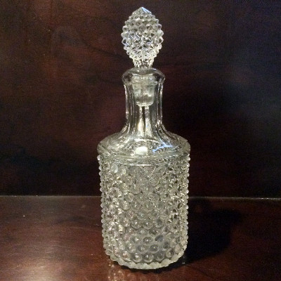 EAPG Pointed Hobnail Pattern Decanter With Stopper - Ca. 1880s - (Thousand Eyes) - Rough Pontil