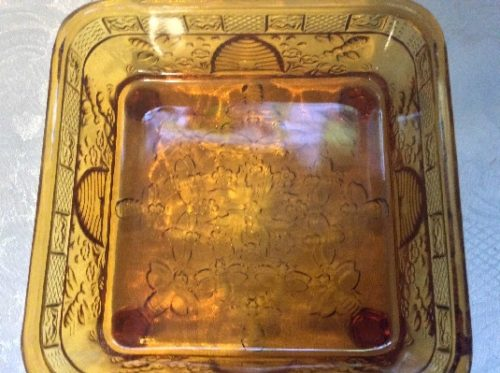 Vintage Amber Glass Honey Bees Lidded Candy Dish - Bees, Bees & More Bees! - Tiara Indiana Glass