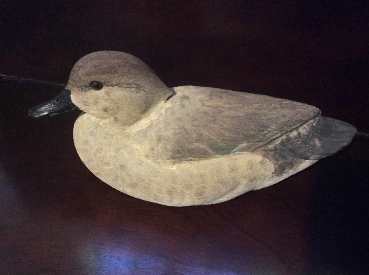 Hand Carved Wood Duck - Green Wing Teal Hen - Signed - Jack Cox '88 & R. Thomas 11.15.90