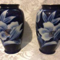 Pair of Cobalt Blue Floral Decorated Vases - Vintage Fred Roberts of San Francisco - Versatile Vases