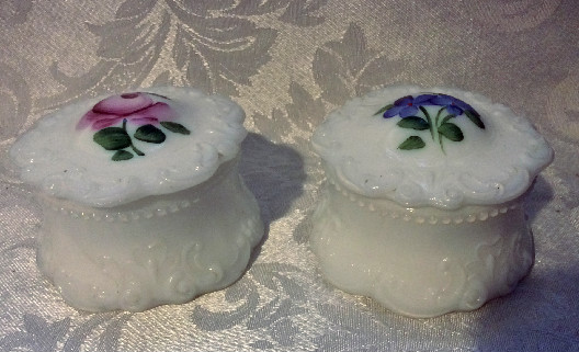 Victorian Milk Glass Powder Jar - Cream Jar - Salve Jar - Trinket Holder - Hand Painted