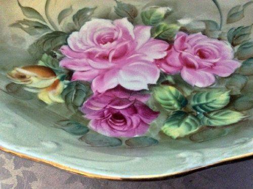 Hand Painted Bowl - Beautiful Pink & Yellow Roses - Vintage Lefton China