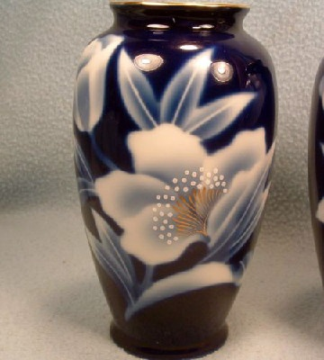 Pair of Cobalt Blue Floral Decorated Vases - Vintage Fred Roberts of San Francisco - Versatile Vases