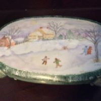 "Dresser Jewelry Box w/ Hand Painted Winter Skating Scene - Artist Signed - ""In The Style of Grandma Moses"""