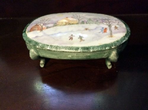 """Dresser Jewelry Box w/ Hand Painted Winter Skating Scene - Artist Signed - """"In The Style of Grandma Moses"""""""