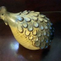 Verdelle Gray Pottery - Stylized Modernist Design Chicken w/ Brillant Blue - Asheville NC