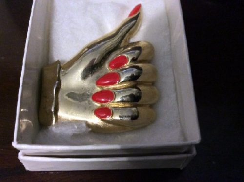 Vintage Lady's Hand Brooch/Pin - Gold Tone w/ Brilliant RED Enamel Nails - Marked M.Jent