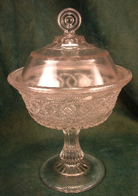EAPG - Portland Glass Co. - Chain & Shield - Covered Footed Compote - ca.1870