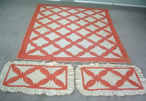 """Winners Circle"" - Red & White Appliqued Quilt & 2 Shams w/ Provenance -1980/1981"