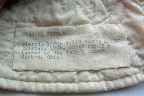 """""""Winners Circle"""" - Red & White Appliqued Quilt & 2 Shams w/ Provenance -1980/1981"""