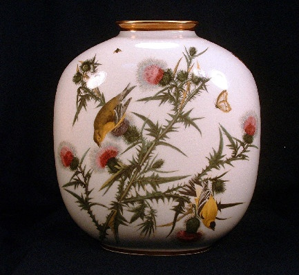 Large John James Audubon Birds of America Goldfinch Pillow Vase - Rosenthal China #32 of 3584