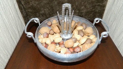Aluminum Holiday Nut Bowl