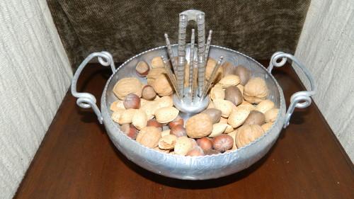 Aluminum Holiday Nut Bowl