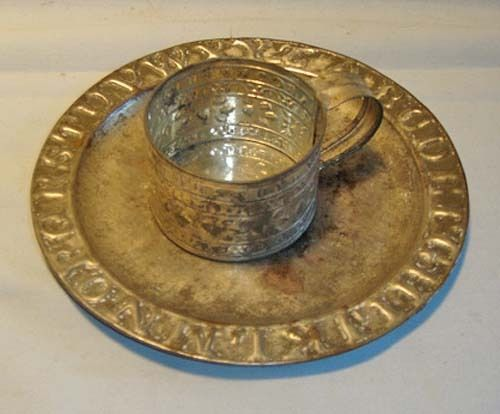 Tin Alphabet Plate & Alphabet Cup Set - c. 1890 - Child's Size