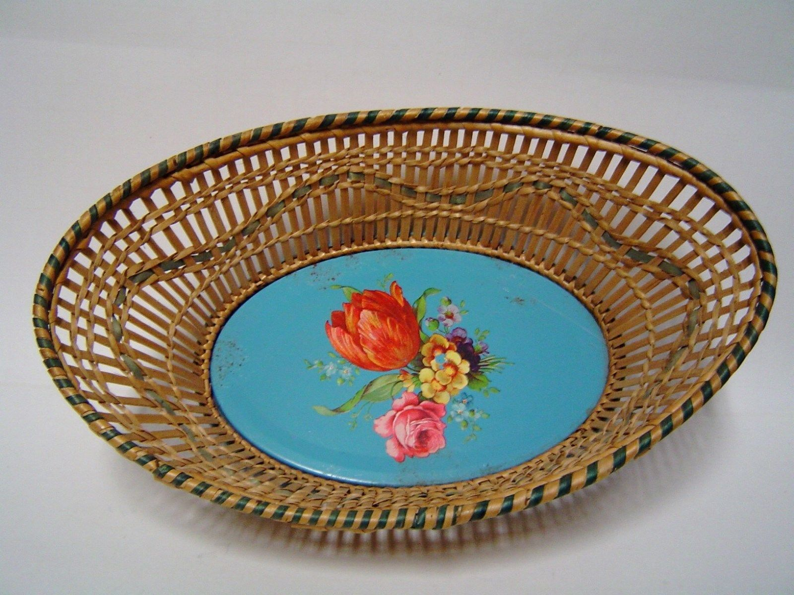 Made in U.S. Zone, Germany - Bread Basket With Painted Tin Bottom
