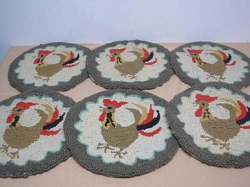Vintage Hand Hooked Rooster Chair Pads